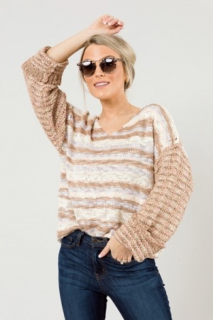 Popping Stripes Sweater, Brown