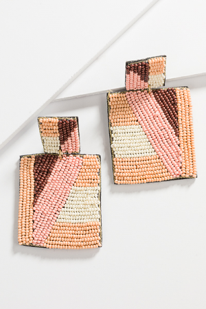 Block Party Beaded Earrings, Peach