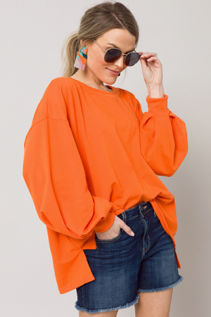Pleat Sleeve Sweatshirt, Orange
