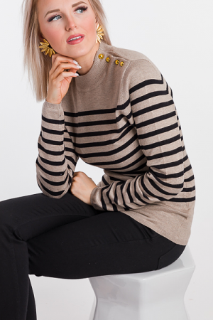 Gold Button Stripe Sweater
