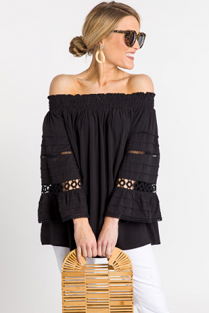 Pintuck Off Shoulder, Black