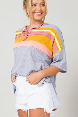 Raw Stripes Slub Henley, Heather Grey