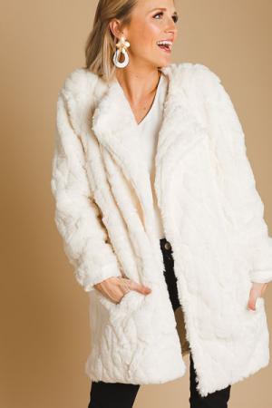 Fur Feeling Jacket, Cream