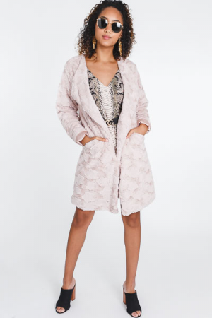 World Traveler Fur Coat, Blush