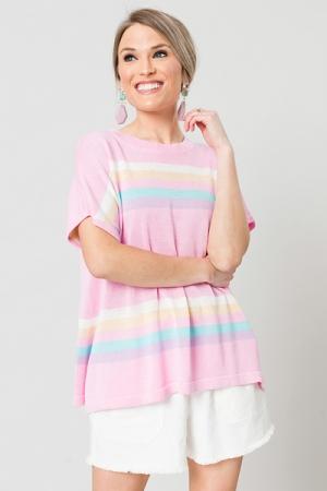 Short Sleeve Stripe Sweater, Pink