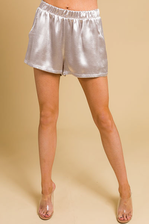 Pull on Shorts, Satin Oyster