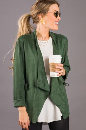 Cinchable Suede Jacket, Green