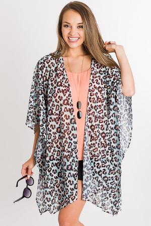 Gretchen Leopard Kimono, Blue