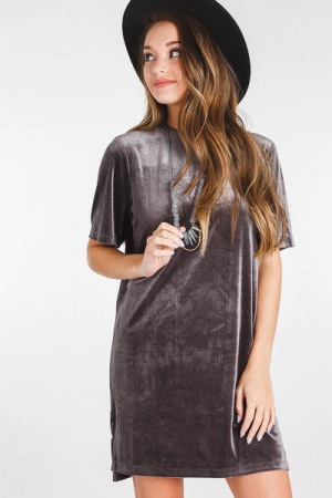 Bennett Velvet Dress, Grey