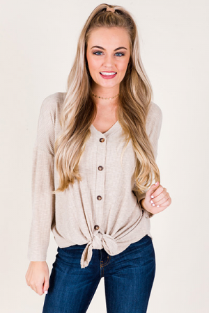 Taupe to Me Tie Top