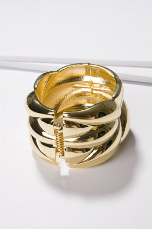 Hinged Wave Bangle, Gold