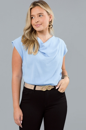 On The Cowl Blouse, Sky Blue