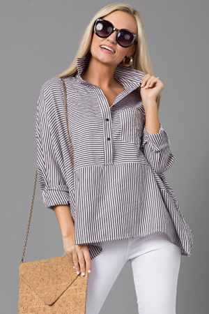 Black Stripe Button Down
