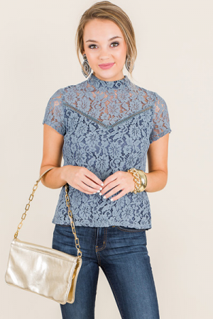 Mandarin Lace Top, Blue