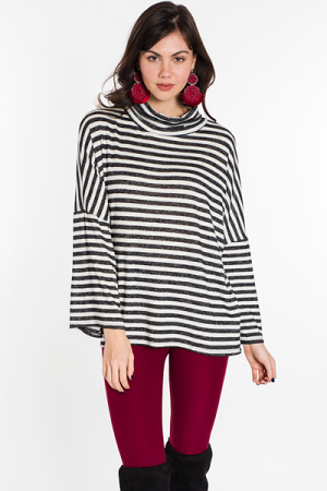 Striped Turtleneck, Black