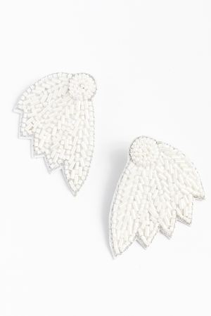 Bugle Leaf Earring, White