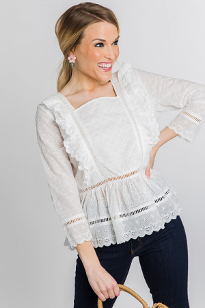 Delilah Eyelet Top, White