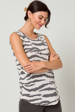 Knit Zebra Tank, Tan/Black