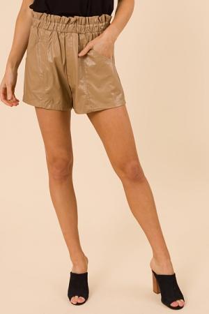 Camilla Leather Shorts, Camel