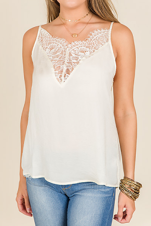 Lace Insert Cami, Cream