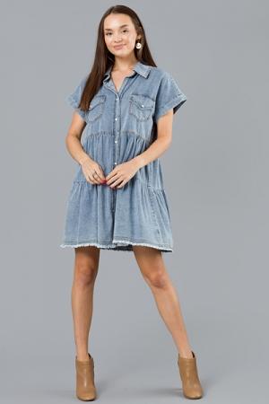 Pearl Snap Denim Dress