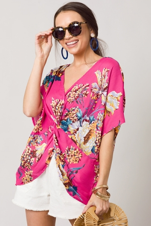 Gathered Knot Top, Hot Pink Floral