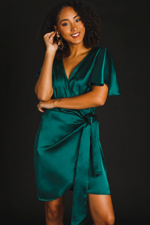 Silk Wrap Dress, Emerald