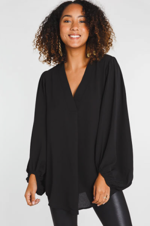 Puffy Sleeve Blouse, Black