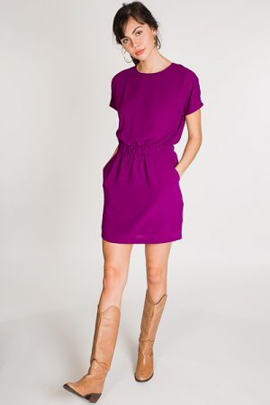 Up to Date Pocket Dress, Magenta