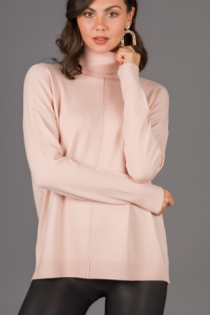 Caroline Turtleneck, Dusty Blush