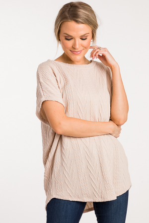 Textured Lanes Sweater, Light Taupe