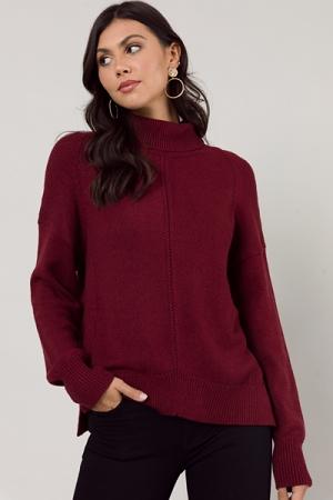 Ryan Mock Sweater, Burgundy