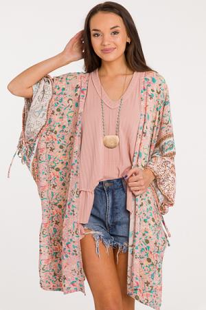 Cinch Sleeve Kimono, Blush