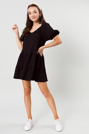 Raised Lines Dress, Black