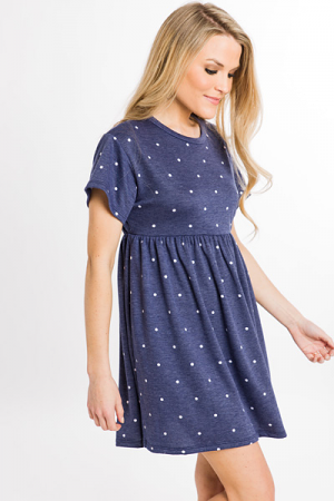Spotted Babydoll Dress, Navy