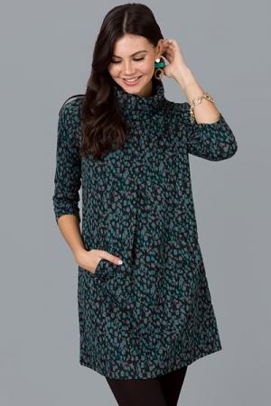 Meghan Dress, Teal Leopard