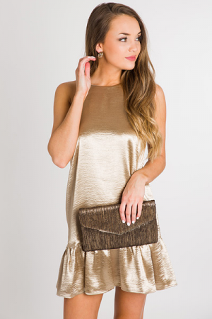 Golden Girl Ruffle Dress