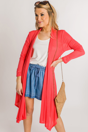 Ribbed Knit Cardigan, Coral