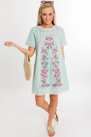 Mint Stripe Embroidered Dress