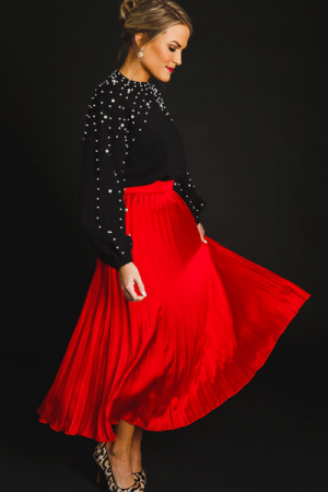 Silky Pleated Skirt, Red