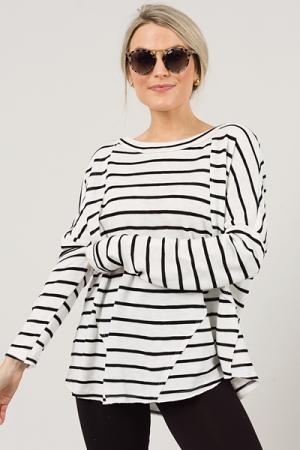 Jet Set Stripe Top, Black/White