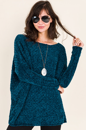 Meryl Chenille Sweater, Teal