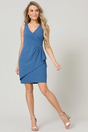 Muse Faux Wrap Dress, Blue