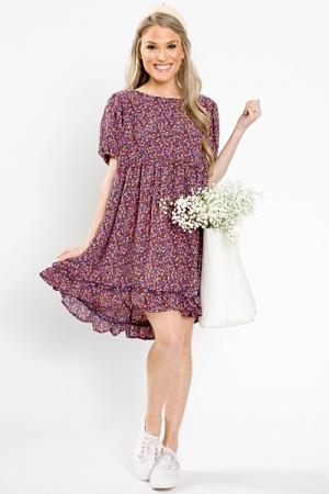 Navy Floral Babydoll Dress