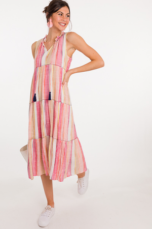 Stitched Up Stripe Maxi, Pink