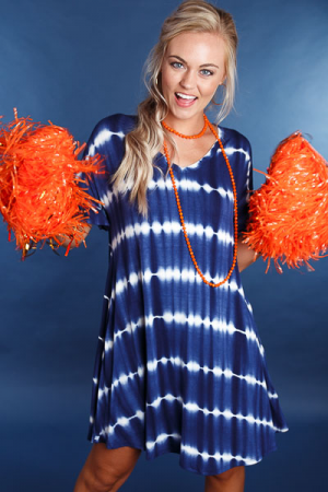 Tie Dye Swing Dress, Navy