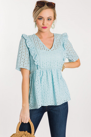 Baby Blue Eyelet Top
