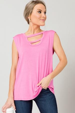 Knit Ladder Cutout Tank, Pink