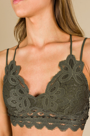 Lacy Padded Bralette, Olive