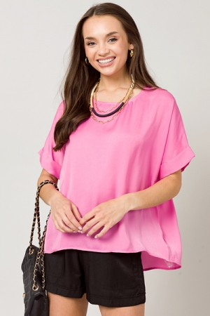 Girl's Girl Top, Hot Pink